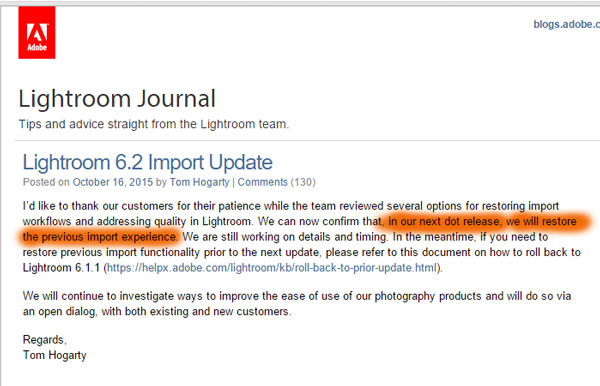 Lightroom Update - the saga contunious