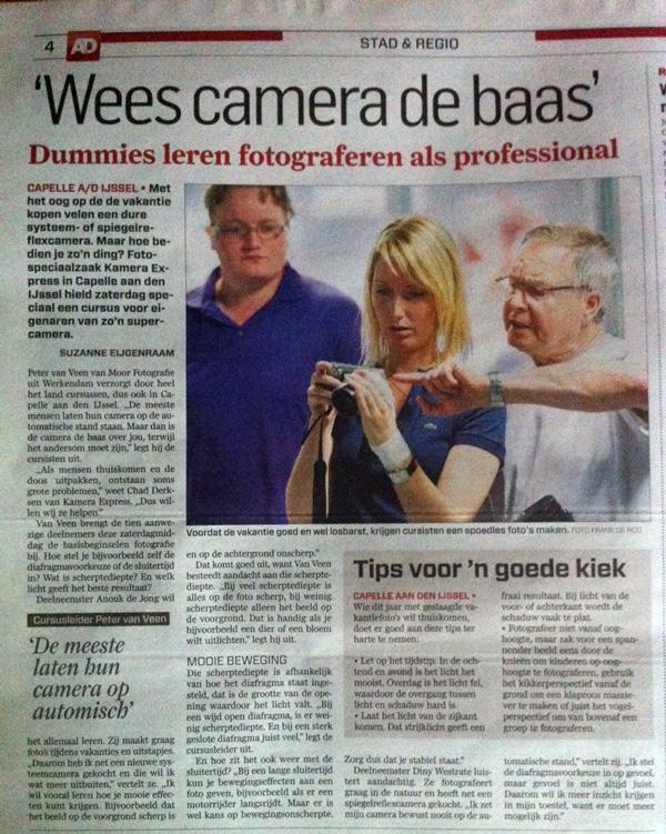 Moor Fotografie in de krant tijdens een workshop op de Foto Academie van Kamera Express