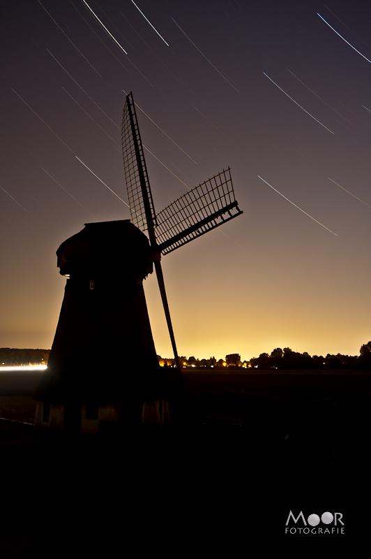 Startrailfotografie Startrail Sterrenfotografie Molen Nacht Nachtfotografie